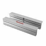 Neutral aluminium vice jaws set 100 mm grooved with neodymium magnets