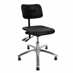 DYNAMO work chair with seat and back in PU foam, Glides (fixed feet) and adjustment of seat and back (420-550 mm)
