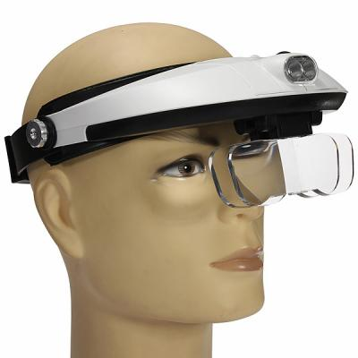 Head magnifier with LED light and 5 exchangeable lenses
